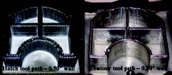Freeforms of Ti-6Al-4V comparing hatch tool path to contour-only tool path